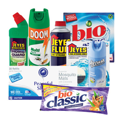 Household combo -  Glade Sensations Airspray Clean Linen 269ml Doom Mosquito Mats 30ea Doom Odourless Insecticide 300ml Finish Quantum Dishwash Tabs Doy Pak 10ea Bio Classic Triple Action Washing Powder 1.5kg Vanish Fabric Stain Remover 1l Mr Muscle Oven Cleaner 3 in 1 300ml